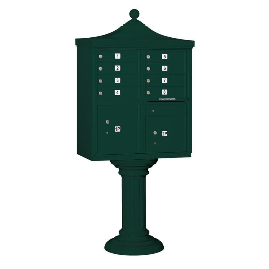 SALSBURY INDUSTRIES 3300 Series 31-in x 71.75-in Metal Green Lockable Post Mount Cluster Mailbox