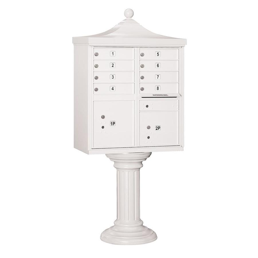 SALSBURY INDUSTRIES 3300 Series 31-in x 71.75-in Metal White Lockable Post Mount Cluster Mailbox