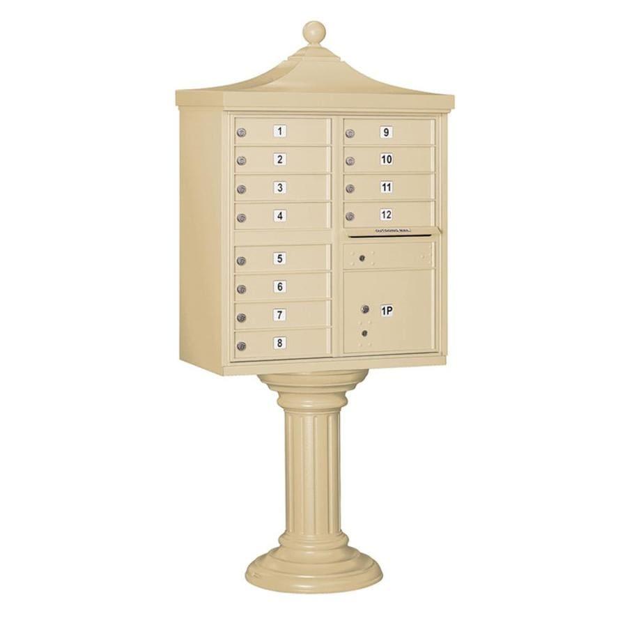 SALSBURY INDUSTRIES 3300 Series 31-in x 71.75-in Metal Sandstone Lockable Post Mount Cluster Mailbox