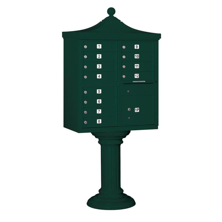 SALSBURY INDUSTRIES 3300 Series 31-in x 71.75-in Metal Green Lockable Post Mount Cluster Mailbox