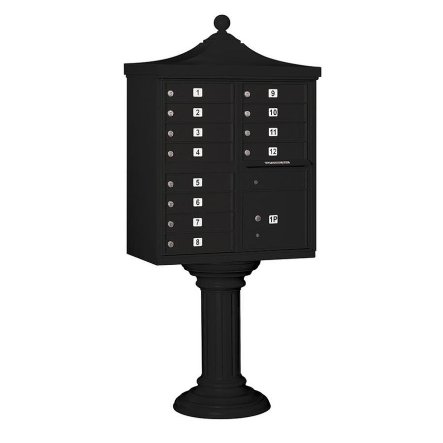 SALSBURY INDUSTRIES 3300 Series 31-in x 71.75-in Metal Black Lockable Post Mount Cluster Mailbox