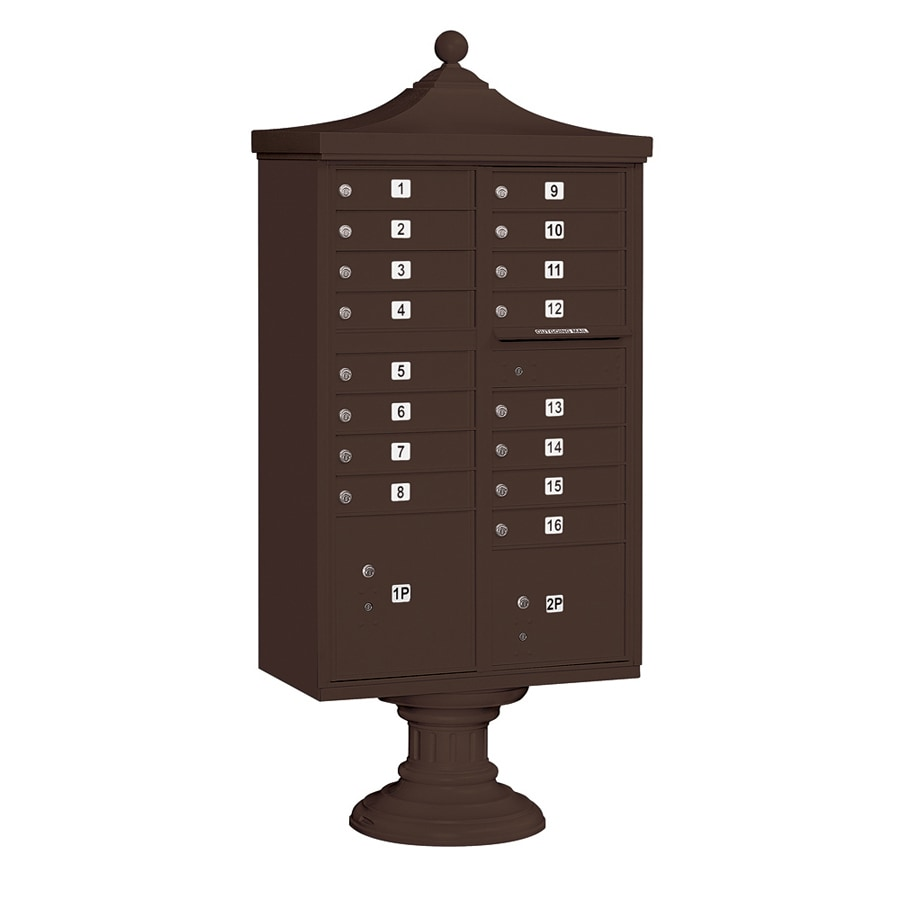 SALSBURY INDUSTRIES 3300 Series 31-in x 71.75-in Metal Bronze Lockable Post Mount Cluster Mailbox