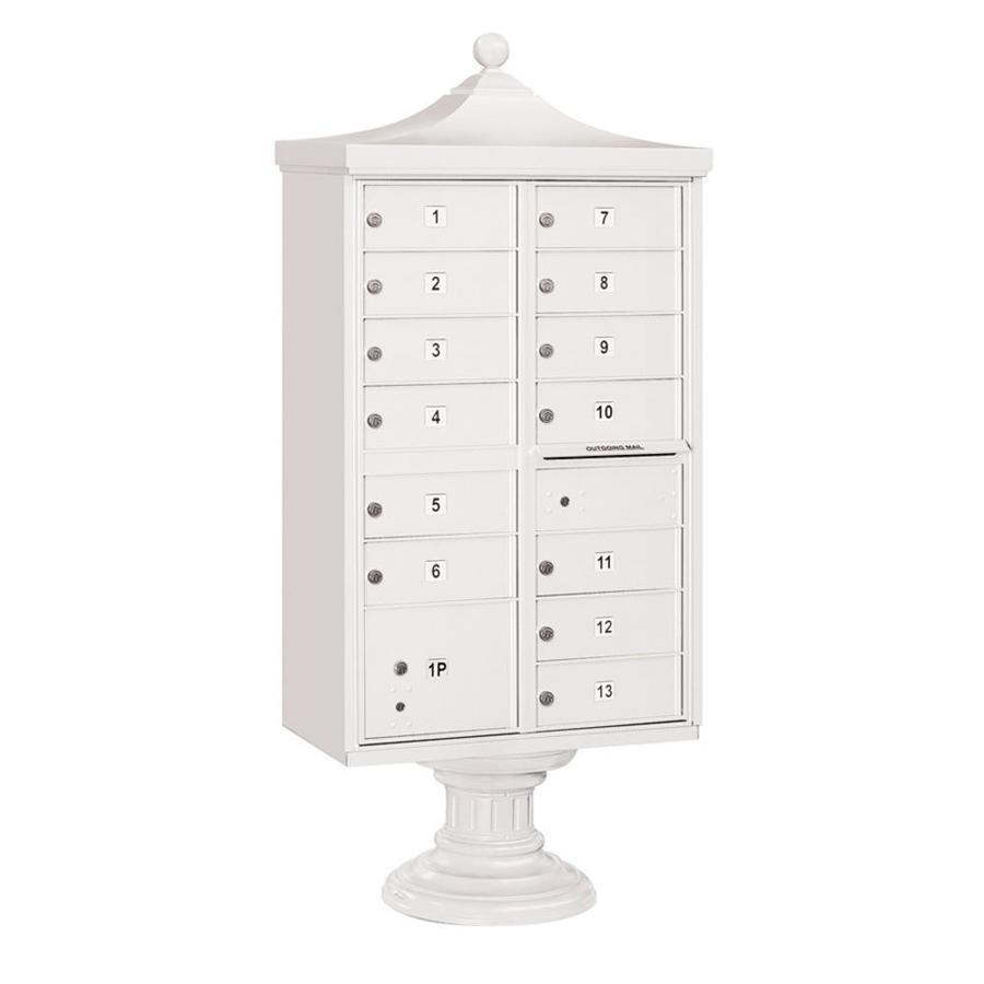 SALSBURY INDUSTRIES 3300 31-in W x 71.75-in H Metal White Lockable Post Mount Cluster Mailbox