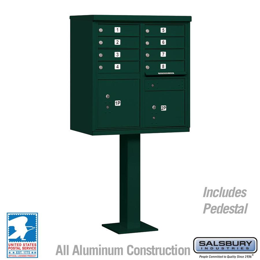 SALSBURY INDUSTRIES 3300 Series 30.5-in x 62.75-in Metal Green Lockable Post Mount Mailbox