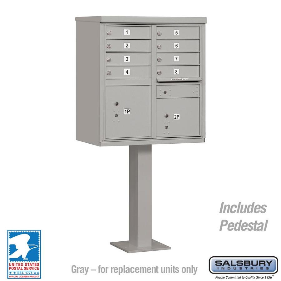 SALSBURY INDUSTRIES 3300 Series 30.5-in x 62.75-in Gray Lockable Post Mount Mailbox