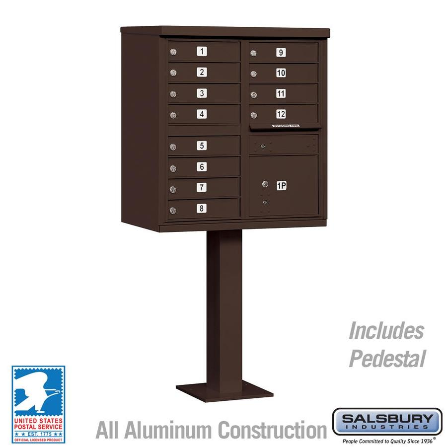 SALSBURY INDUSTRIES 3300 Series 30.5-in x 62.75-in Metal Bronze Lockable Post Mount Mailbox