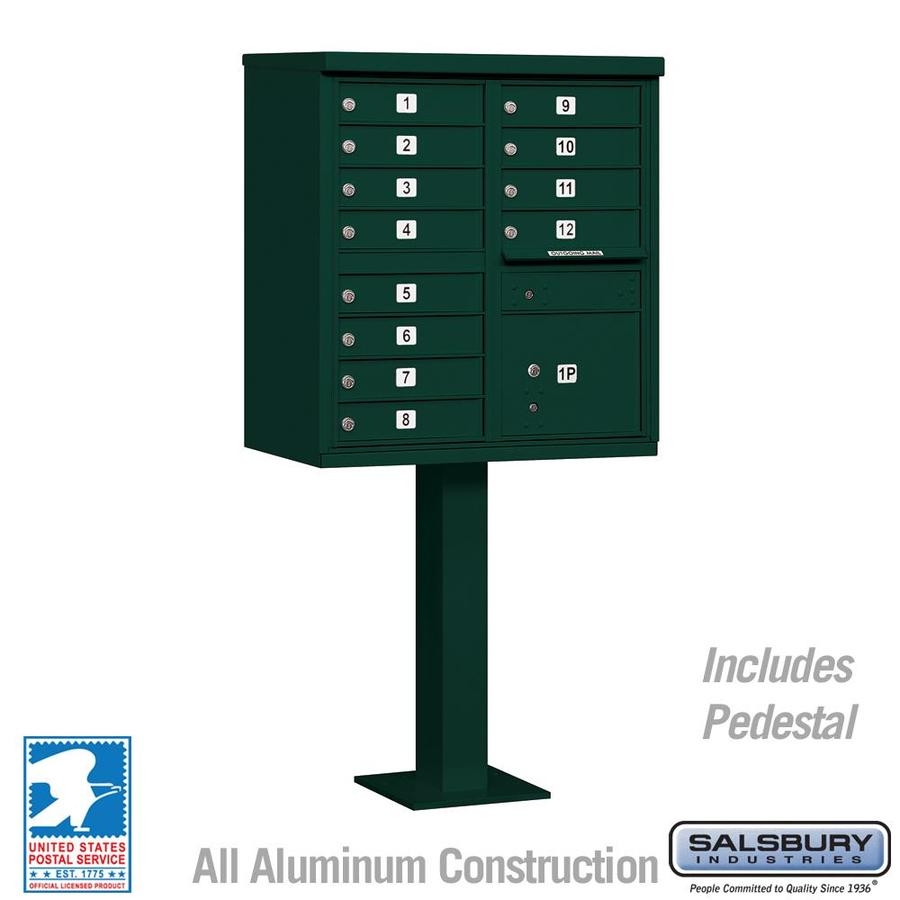 SALSBURY INDUSTRIES 3300 Series 30.5-in x 62.75-in Green Lockable Post Mount Mailbox