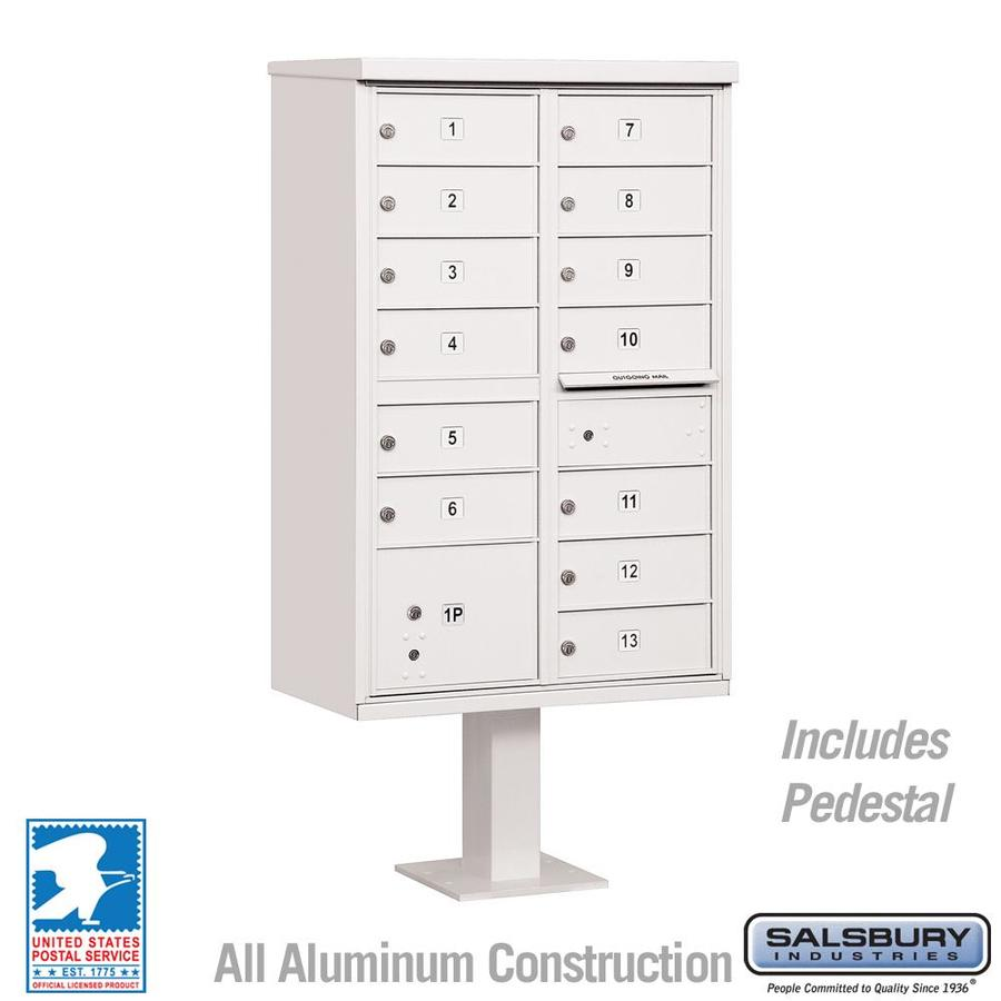 SALSBURY INDUSTRIES 3300 Series Cluster Box-Unit 62.75-in W x 30.5-in H Metal White Lockable Post Mount Cluster Mailbox
