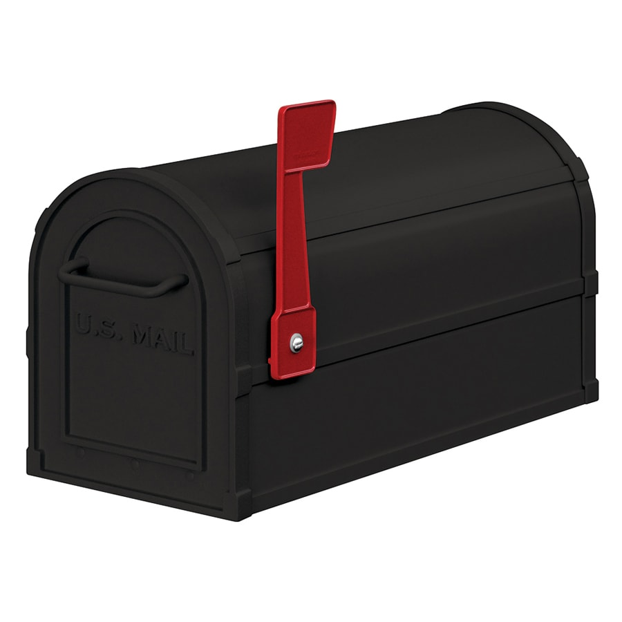 SALSBURY INDUSTRIES 4800 7.5-in W x 9.5-in H Metal Black Post Mount Mailbox