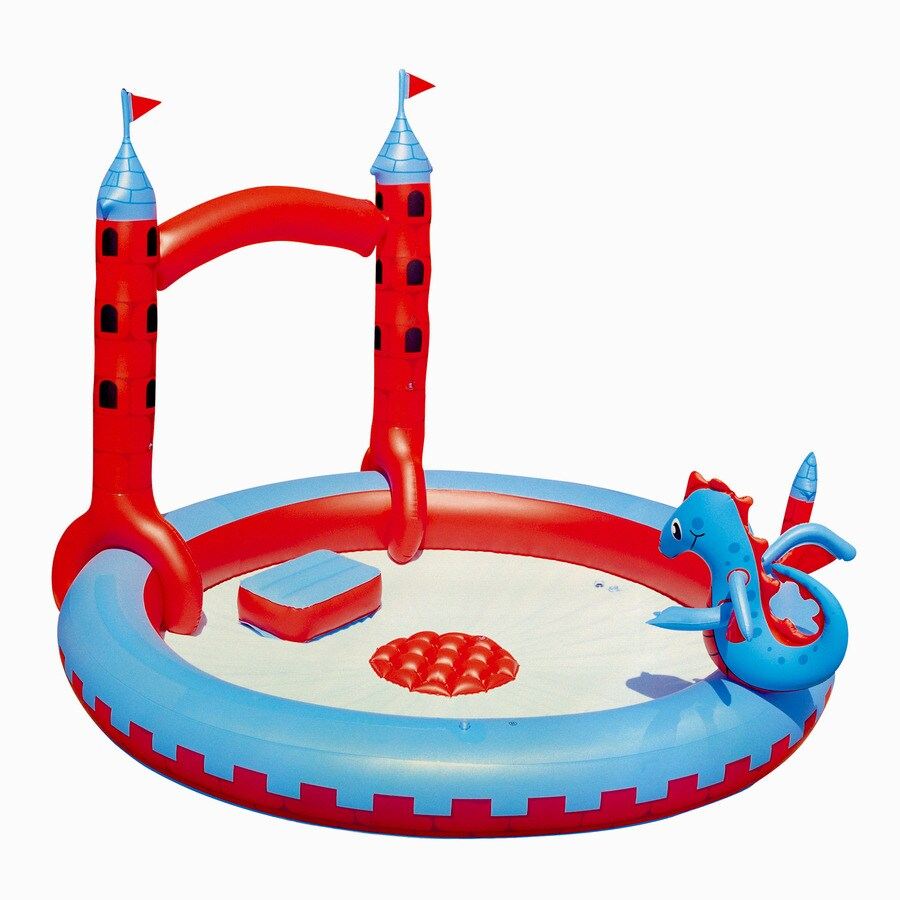 Splash & Play 87-in L x 76-in W Blue/Red Polyethylene Inflatable Round Kiddie Pool