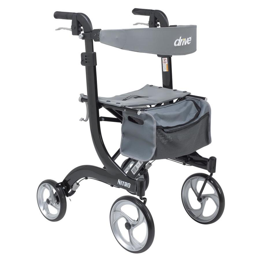 Drive Medical Nitro Euro Style Rollator Rolling Walker Tall Black In The Walkers Wheelchairs Rollators Department At Lowes Com