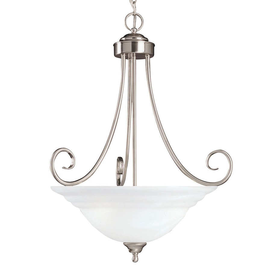 Shandy 22-in Satin Nickel Single Marbleized Glass Pendant