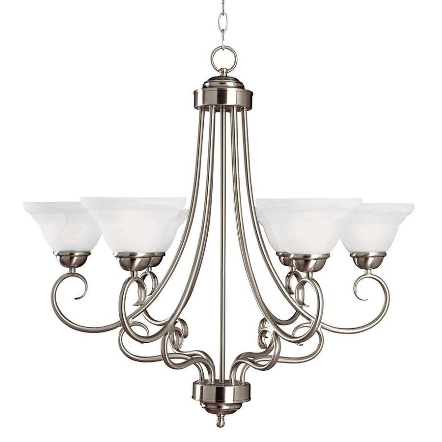 Shandy 28-in 6-Light Satin Nickel Candle Chandelier