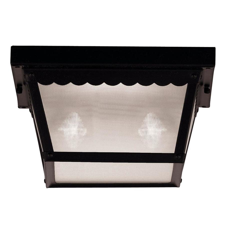 10-in W Black Outdoor Flush-Mount Light