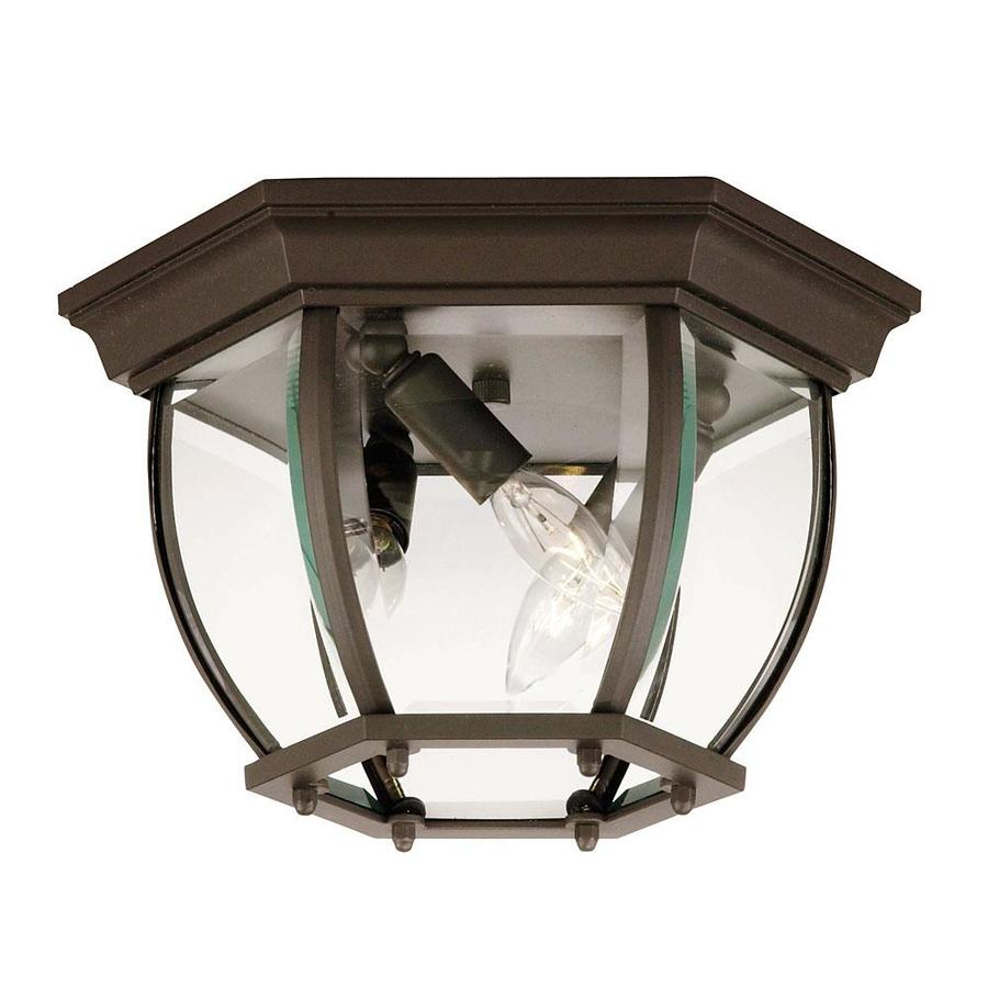 9-in W Bronze Outdoor Flush-Mount Light