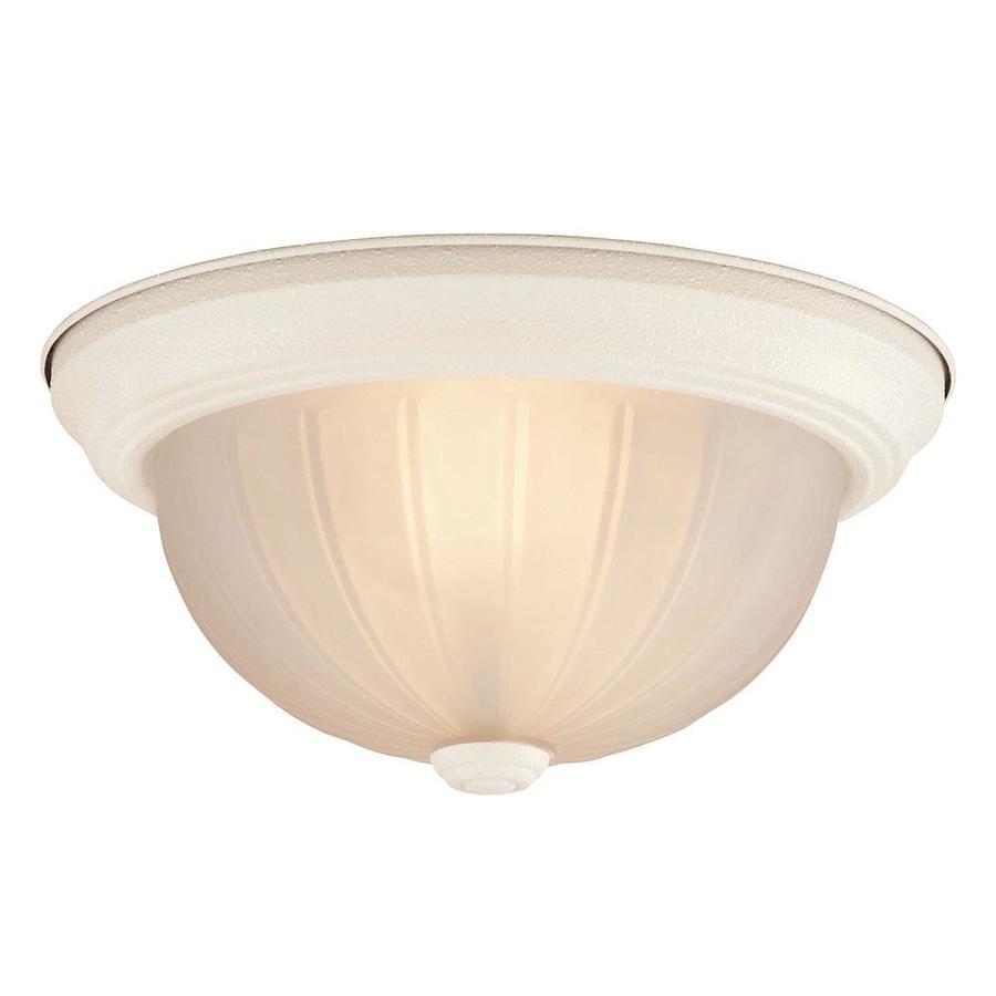 11-in W Textured White Ceiling Flush Mount Light