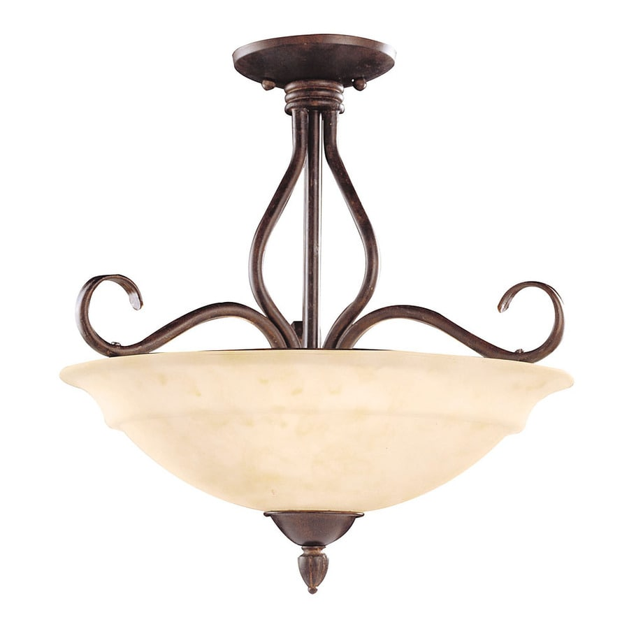 16.5-in W Sunset Bronze Tea-Stained Glass Semi-Flush Mount Light