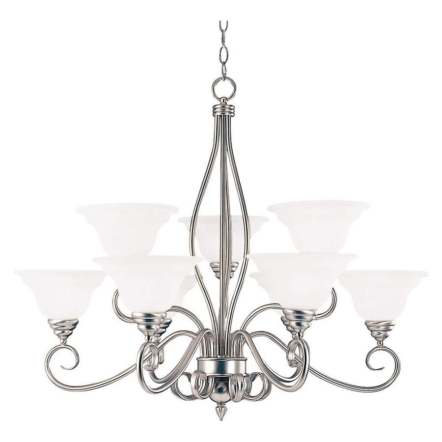 Shandy 33.5-in 9-Light Pewter Candle Chandelier