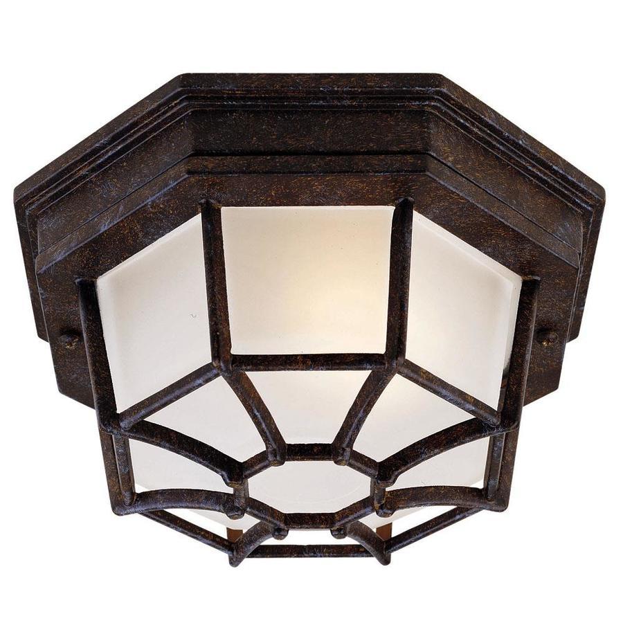 9-in W Rustic Bronze Outdoor Flush-Mount Light