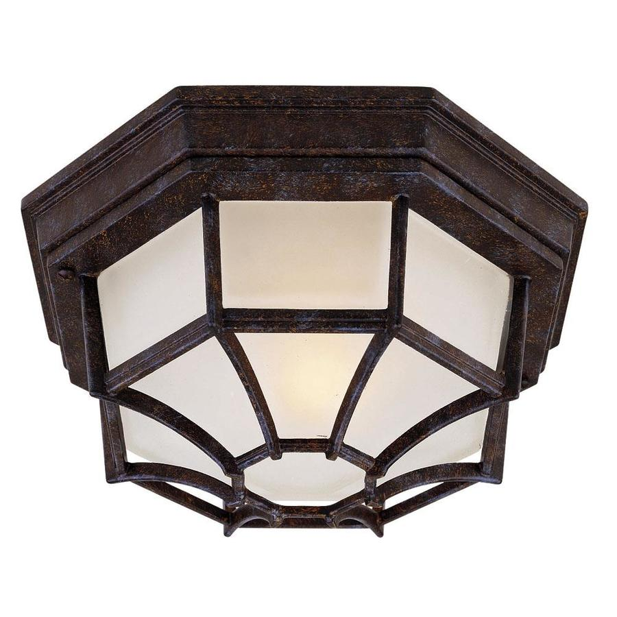 Shop 11 In W Rustic Bronze Outdoor Flush Mount Light At