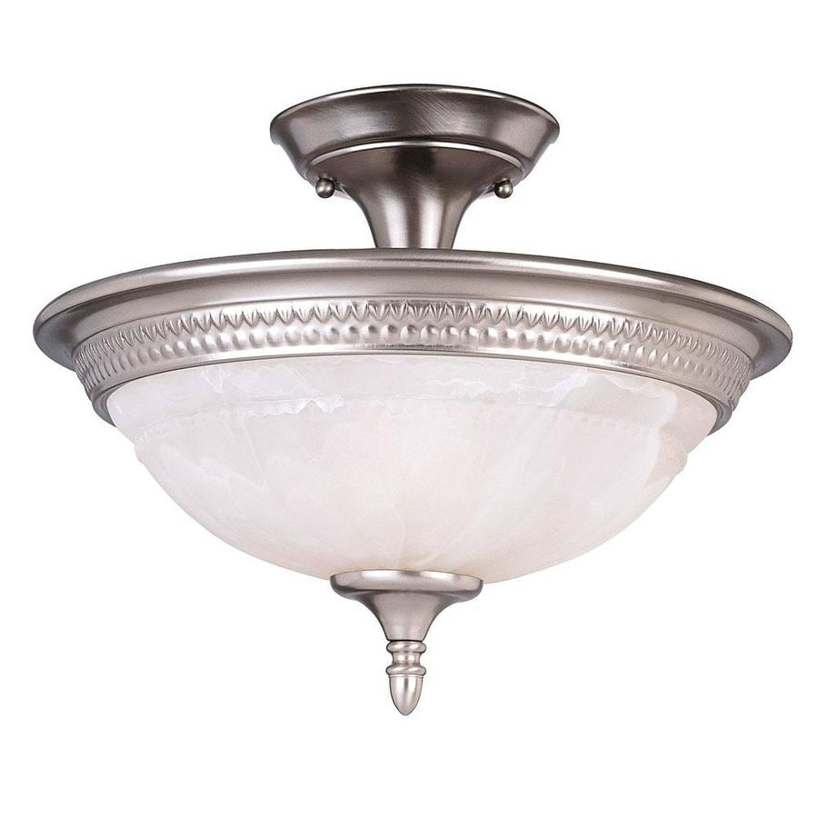 15-in W Pewter Frosted Glass Semi-Flush Mount Light