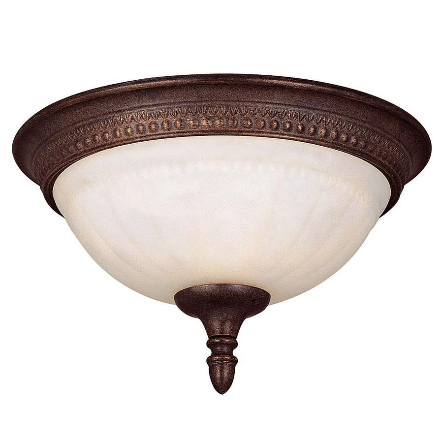 11.51-in W Walnut Patina Flush Mount Light