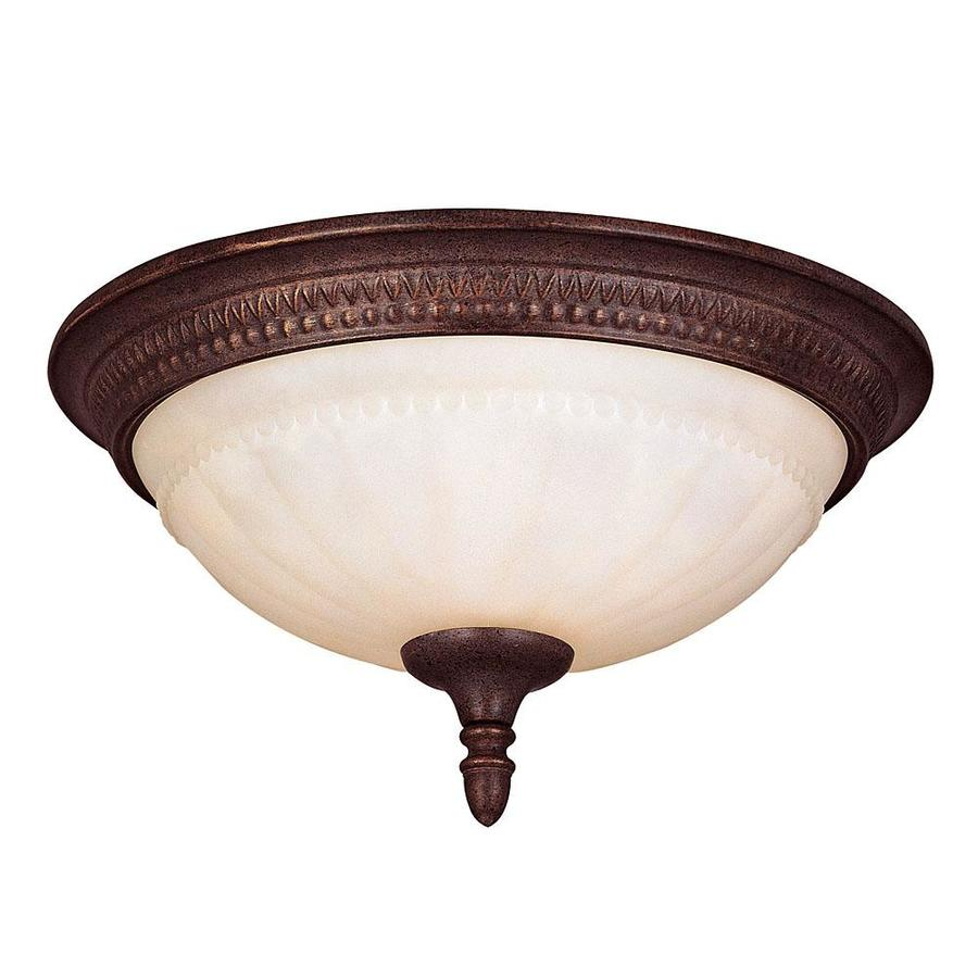 13.72-in W Walnut Patina Flush Mount Light