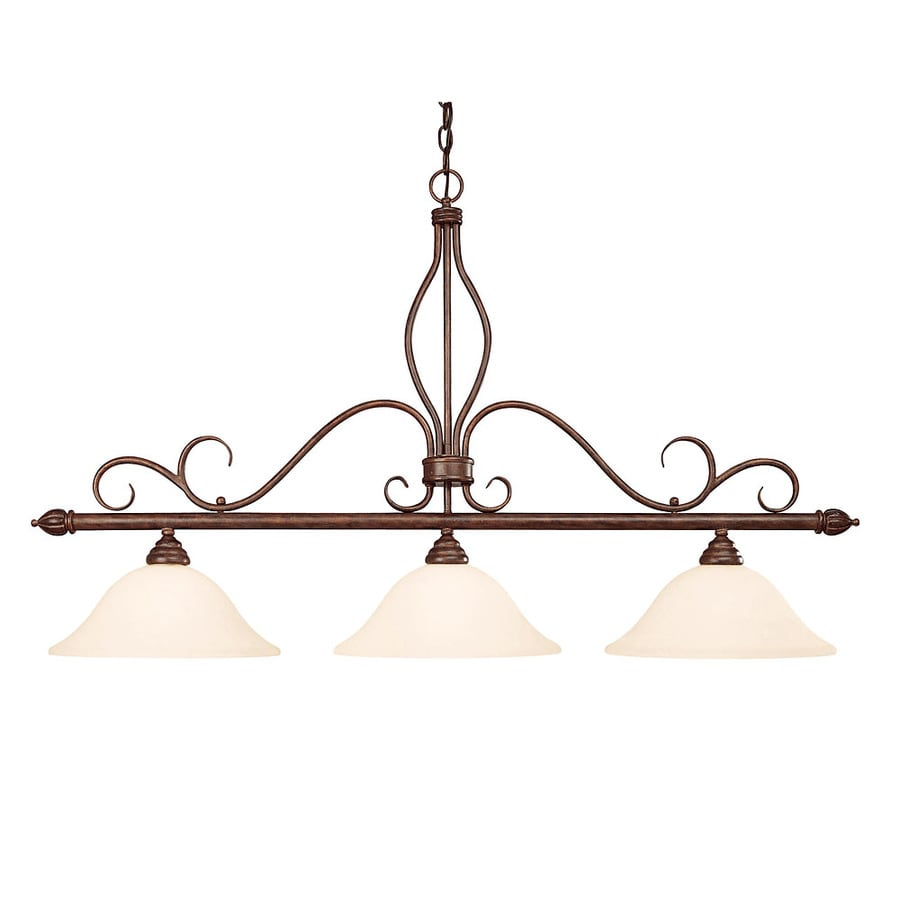 Shandy 12-in W 3-Light Sunset Bronze Kitchen Island Light with Frosted Shade