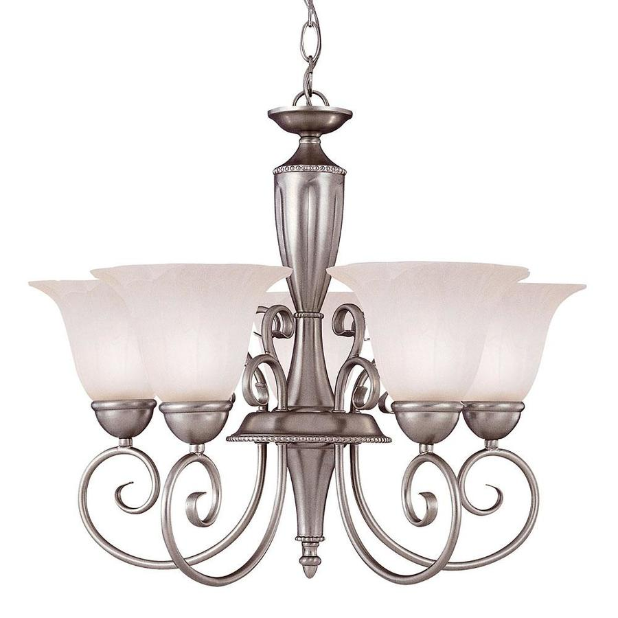 Shandy 22.75-in 5-Light Pewter Candle Chandelier