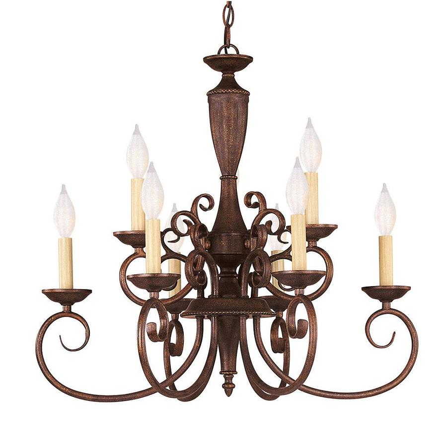 Shandy 23.75-in 9-Light Walnut Patina Candle Chandelier