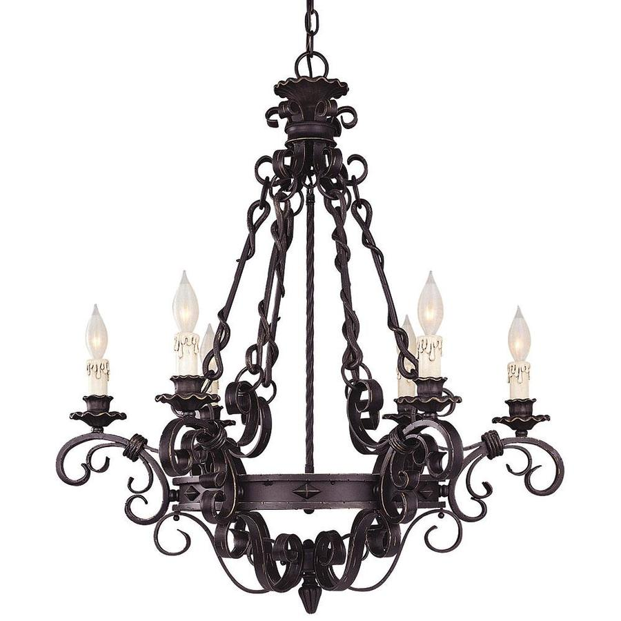Shandy 30-in 6-Light Forged Black Candle Chandelier