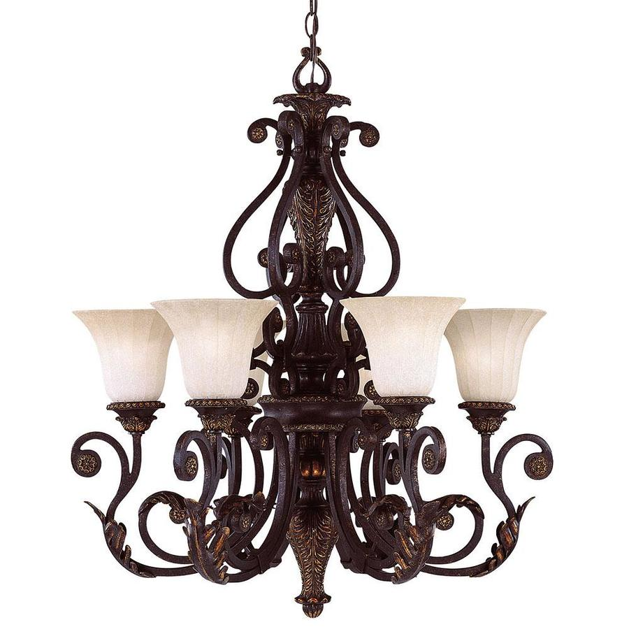Shop shandy 28 in 6 light antique copper tinted glass candle chandelier at - Lighting and chandeliers ...