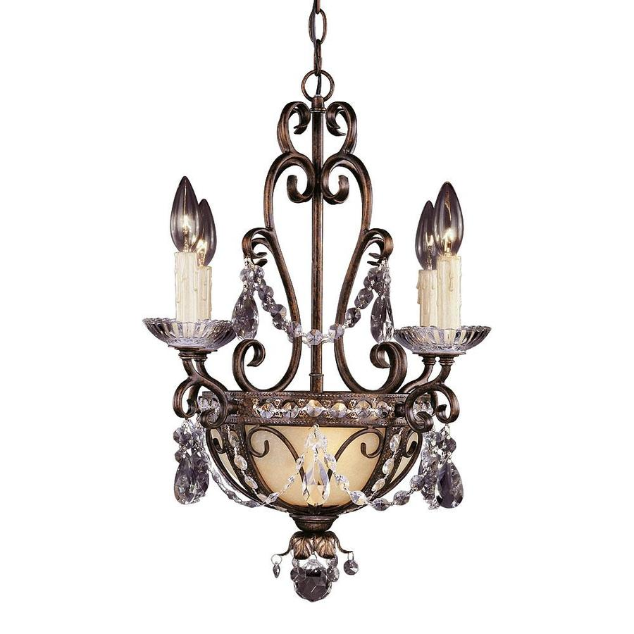Shandy 18-in 6-Light New Tortoise Shell Clear Glass Candle Chandelier