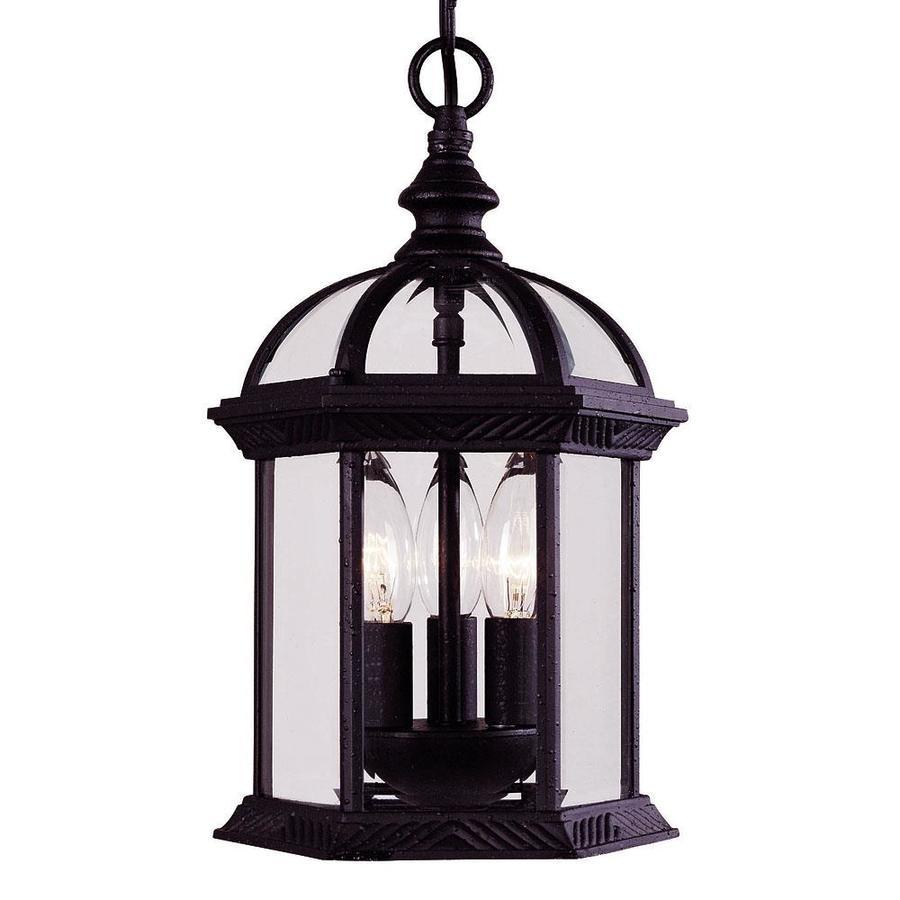 Lichtenberg 13.75-in Textured Black Outdoor Pendant Light
