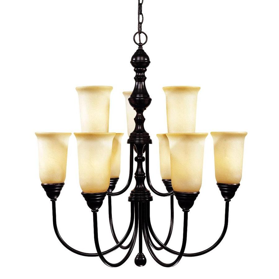 Shandy 28-in 9-Light English Bronze Candle Chandelier