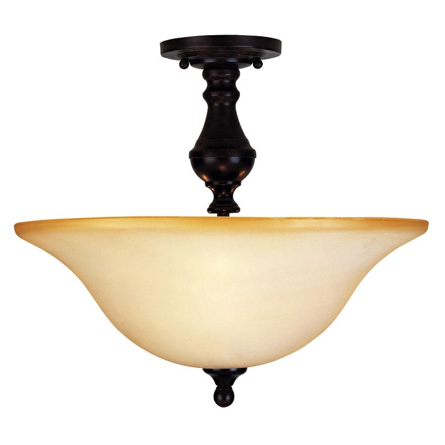 16-in W English Bronze Tea-Stained Glass Semi-Flush Mount Light
