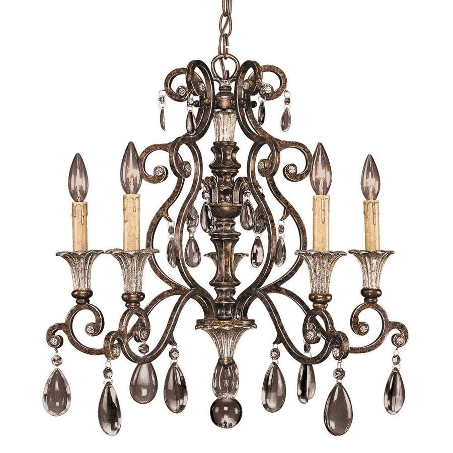 Shandy 23.5-in 5-Light New Tortoise Shell Clear Glass Candle Chandelier