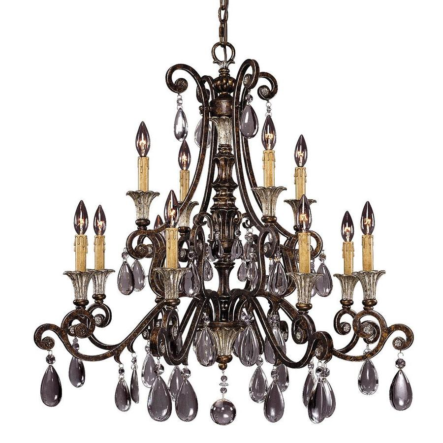 Shandy 34-in 12-Light New Tortoise Shell Clear Glass Candle Chandelier