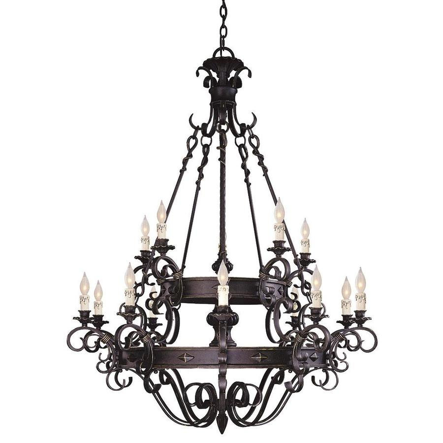 Shandy 44-in 15-Light Forged Black Candle Chandelier