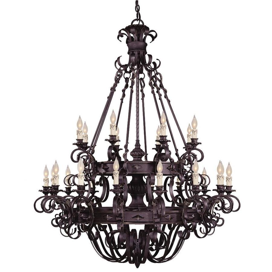 Shandy 48-in 24-Light Forged Black Candle Chandelier