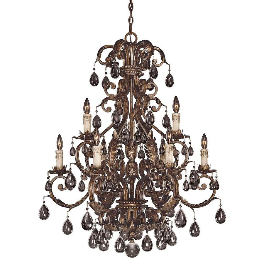 Shandy 32.5-in 9-Light New Tortoise Shell Clear Glass Candle Chandelier