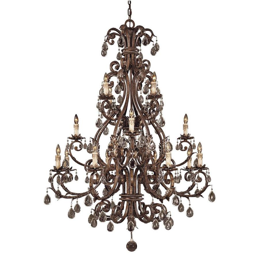 Shandy 48.5-in 16-Light New Tortoise Shell Clear Glass Candle Chandelier