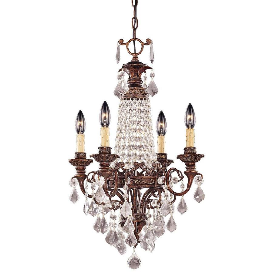 Shandy 17.25-in 4-Light New Tortoise Shell Tinted Glass Candle Chandelier