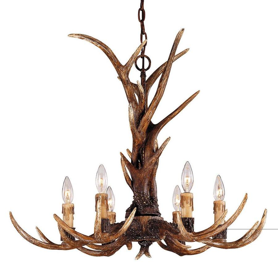 Shandy 29-in 6-Light New Tortoise Shell Candle Chandelier
