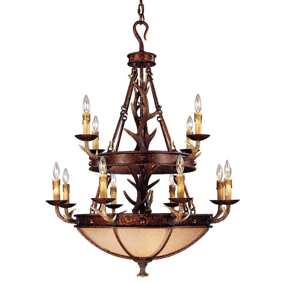 Shandy 36-in 12-Light New Tortoise Shell Tinted Glass Candle Chandelier