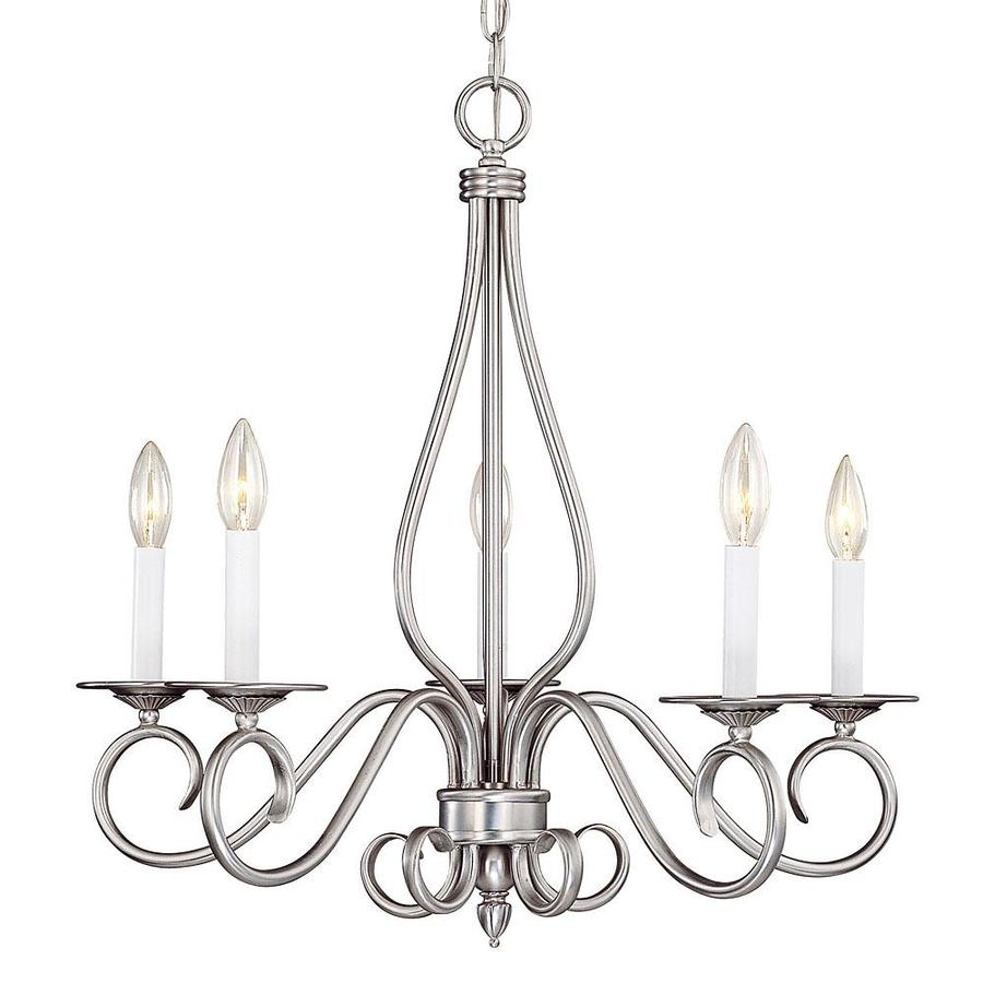 Shandy 24.5-in 5-Light Pewter Candle Chandelier
