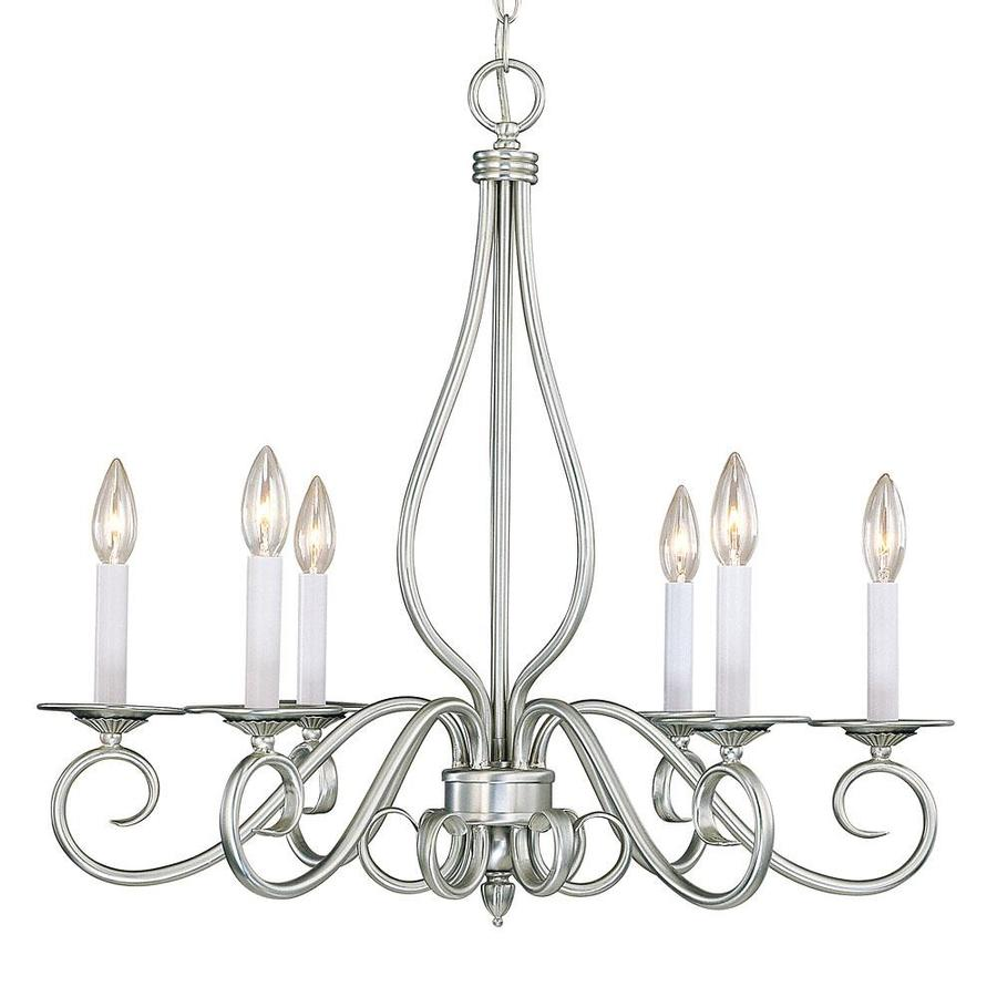 Shandy 25-in 6-Light Pewter Candle Chandelier