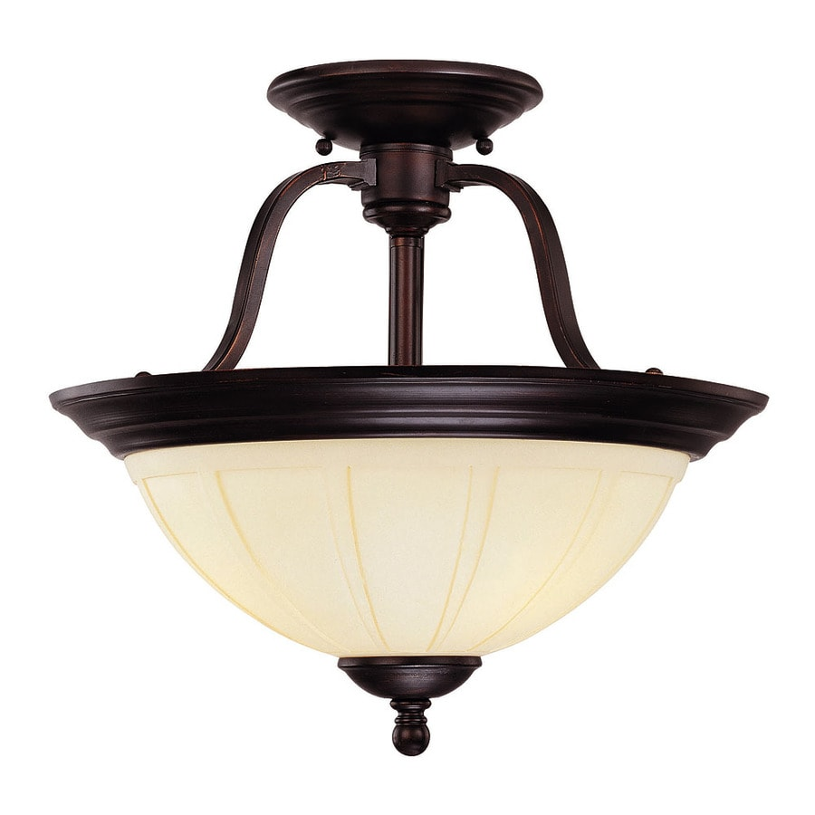 15.5-in W English Bronze Tea-Stained Glass Semi-Flush Mount Light