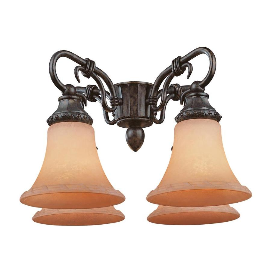 4-Light New Tortoise Shell Incandescent Ceiling Fan Light Kit with Frosted Glass or Shade