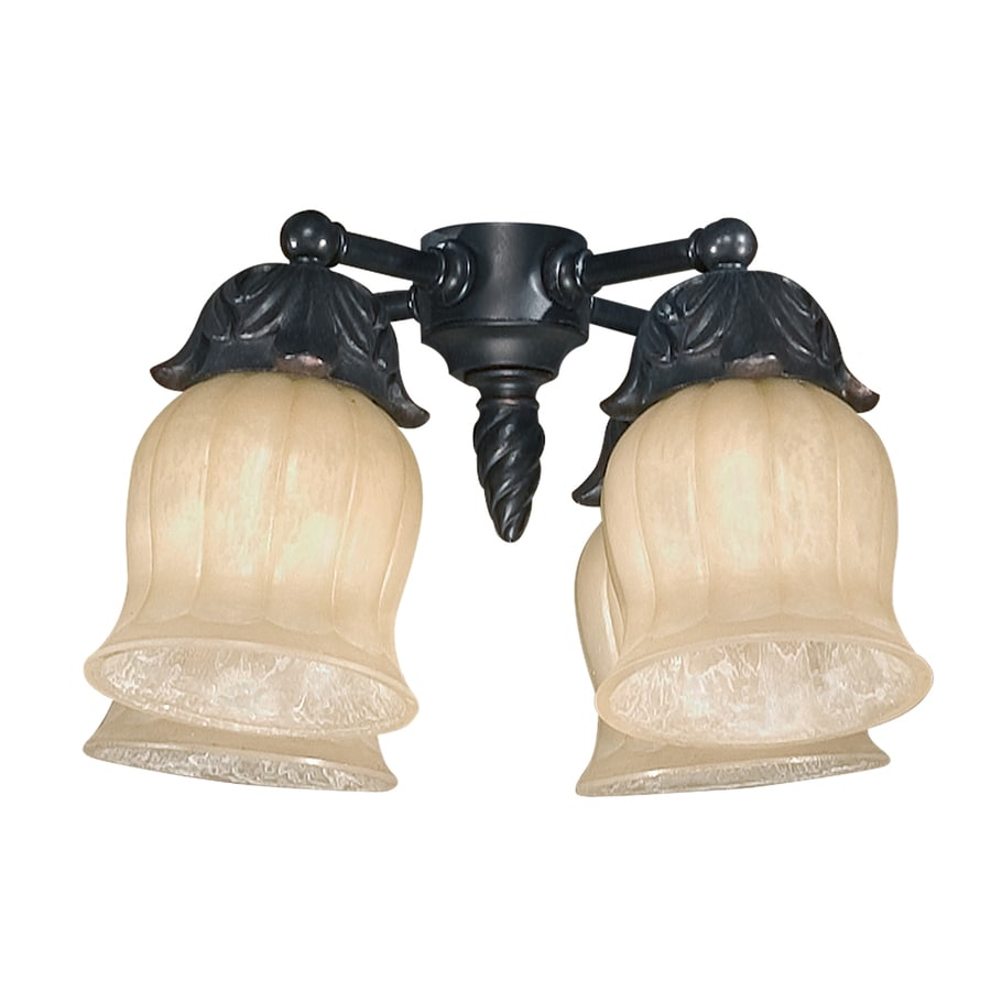 4-Light Ebony Incandescent Ceiling Fan Light Kit